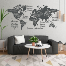 Vinyls world map oceans and continents
