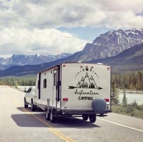 Vinyl caravans phrase in english destination camping