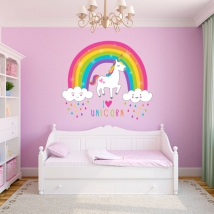 Wall stickers unicorn with rainbow and clouds