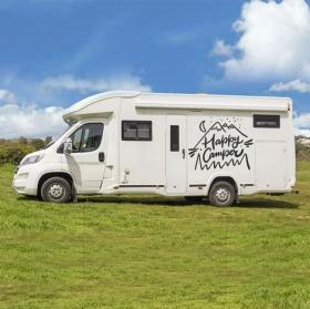 Vinyl and stickers motorhomes phrase happy camper