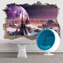 Vinyl 3d planets in space