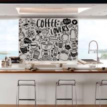 Decorative vinyl phrases coffee lovers