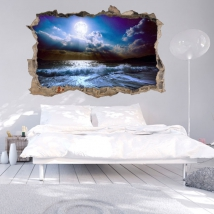 Wall stickers 3d moon on the beach