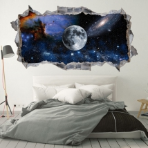 Vinyl and 3d stickers moon in space