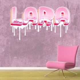 Decorative vinyl custom names graffiti effect