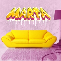 Personalized name vinyl with graffiti effect