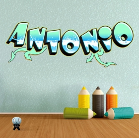 Personalized names stickers with graffiti effect