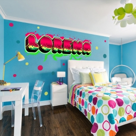 Decorative vinyl personalized names with graffiti effect