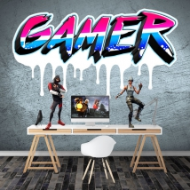 Vinyl and stickers personalized texts gamer graffiti effect
