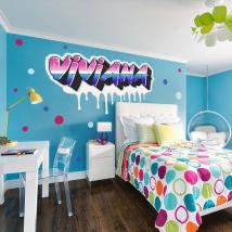 Adhesive vinyls graffiti effect with custom names