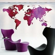Decorative vinyl world map of colors