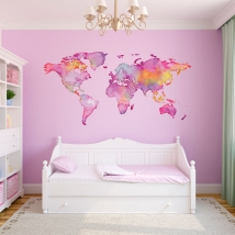 Adhesive vinyls colored world map