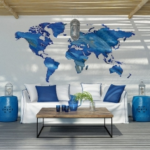 Vinyls stickers colored world map