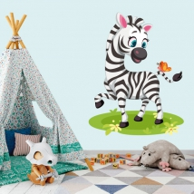 Wall decals for children or babies zebra and butterfly