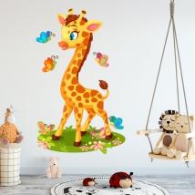 Vinyl for children or babies giraffe and butterflies