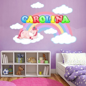 Unicorn wall decals with personalized name