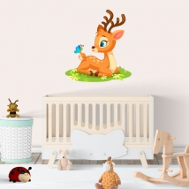 Children's or baby stickers bambi and butterfly