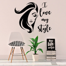 Vinyls and stickers woman face i love my style