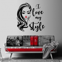 Decorative vinyls and stickers woman face i love my style