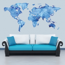 Adhesive vinyl world map of colors