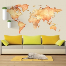 Colored world map vinyls and stickers