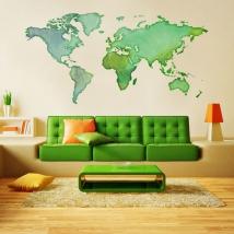 Adhesive vinyl world map colors