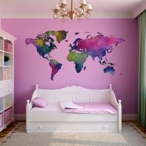 Colorful world map decorative vinyl