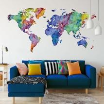 Multicolored world map wall sticker