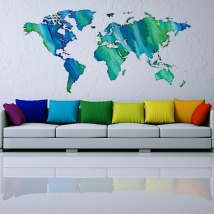 Multicolored world map vinyls and stickers
