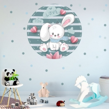 Vinyl and stickers for children or babies romantic rabbit